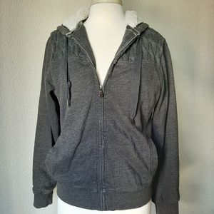 Dark Gray Sherpa Lined Zip Up Jacket With Hood
